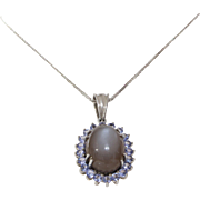 Moonstone Tanzanite Pendant Necklace | 14K White Gold | Link Chain
