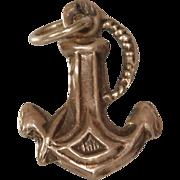 Anchor Charm Pendant | 14K Rose Gold | Vintage Retro Jewelry USA