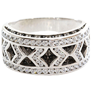 White Gold Cocktail Ring | 18K Cubic Zirconia | Vintage Italy Black