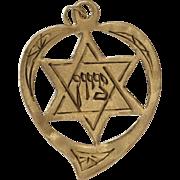 Magen David Heart Pendant | 18K Yellow Gold | Vintage Star Witchs