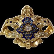 Victorian Sapphire Diamond Brooch | 18K Gold Enamel | Biedermeier
