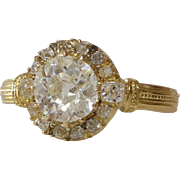 Victorian Diamond Engagement Ring | 18K Yellow Gold | Antique Cocktail
