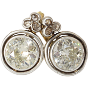 Art Deco Diamond Earrings | 14K Yellow White Gold | Vintage 5.8Ct