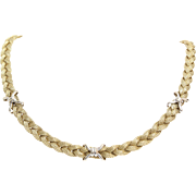 Gold Braided Necklace | 14K Yellow White | Vintage Italy Bicolor X