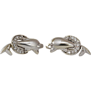 Gold Dolphin Earrings | 14K White Cubic Zirconia | Vintage Israel