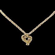 Heart Pendant Necklace | 14K Yellow Gold Diamond | Vintage Chain