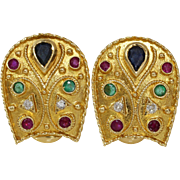 Etruscan Revival Gold Earrings | 18K Sapphire Diamond Ruby | Emerald
