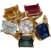 Multi Gem Cocktail Ring | 14K Yellow Gold | Vintage Sapphire Ruby