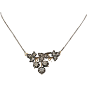 Georgian Diamond Pendant Necklace | 18K Gold Silver | Antique Victorian