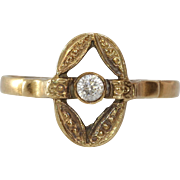 Cubic Zirconia Engagement Ring | 14K Yellow Gold | Vintage Cocktail