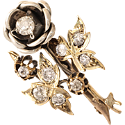 Art Deco Flower Brooch | 18K Bicolor Gold Diamond | Vintage Pin
