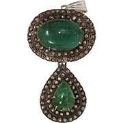Victorian Emerald Diamond Pendant | 15K Gold Silver | Antique Cabochon