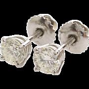 Diamond Stud Earrings   14K White Gold   Vintage Brilliant 1 Carat