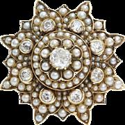 Victorian Diamond Pearl Brooch | 9K Gold Star | Antique Pendant Pin