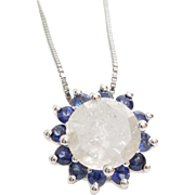 Diamond Sapphire Pendant Necklace | 14K White Gold | Vintage Flower
