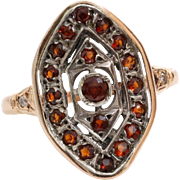 Orange Garnet Navette Ring | 14K Yellow White Gold | Vintage Two Tone