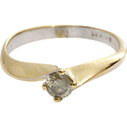 Yellow Diamond Engagement Ring | 14K Gold Vintage | Round Brilliant