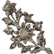 Georgian Diamond Flower Brooch | Sterling Silver Pin | Antique Rose