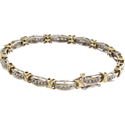 Diamond Gold Bracelet | 10K Bicolor Link | Vintage Tennis Eternity X