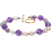 Amethyst Gold Beaded Bracelet | 14K Yellow Quartz | Vintage Bead USA