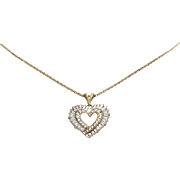 Heart Pendant Necklace | 14K Bicolor Gold | Vintage Link Chain USA 10K