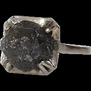 Uncut Black Diamond Engagement Ring | Platinum Rough Raw | Art Deco