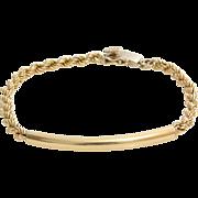 Gold Link Rope Bracelet | 14 Karat Yellow Vintage | Retro Tubular 14K
