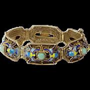 Chinese Export Jade Bracelet | Vermeil Sterling Silver | Vintage