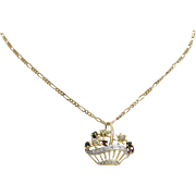 Flower Basket Pendant Necklace | 14K Bicolor Gold | Vintage Link Chain
