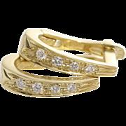 Diamond Gold Earrings | 14K Yellow Gold | Vintage Lever Back 14KT