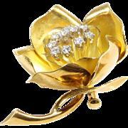 Flower Brooch Pendant | 18K Yellow Gold Diamond | Vintage Rose Pin