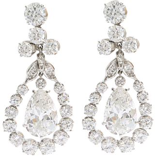 Pear Shaped Diamond Drop Earrings | 18K White Gold | Vintage Dangle