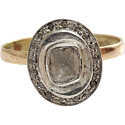 Square Cut Diamond Ring   14K Yellow Gold Silver   Vintage Cocktail