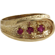 Retro Ruby Cocktail Ring | 14K Yellow Gold | Vintage Tristone Israel