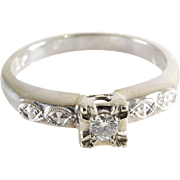 Art Deco Diamond Ring | 14K White Gold | Engagement Vintage Brilliant