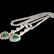Emerald Diamond Pendant Necklace | 18K Bicolor Gold | Vintage Hearts