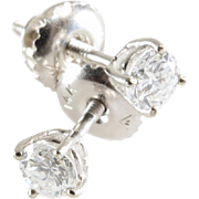 Diamond Stud Earrings | 14K Gold Brilliant Cut | Screw Back Vintage