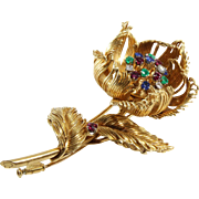 Cartier Flower Brooch | 18K Yellow Gold | Diamond Ruby Sapphire Emerald