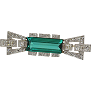 Art Deco Tourmaline Brooch | Platinum Diamond Gold | Bar Pin Vintage