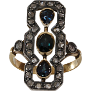 Victorian Sapphire Diamond Ring | 18K Gold Silver | Antique Cocktail