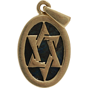 Magen David Gold Pendant | Eilat Stone 14K Yellow | Israel Vintage