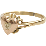 Gold Heart Ring | 14K Yellow Rose Vintage | Promise Engraved Bicolor