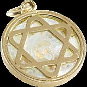 Magen David Pendant   14K Gold Roman Glass   Israel Vintage Charm