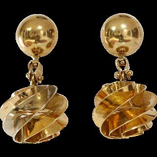 Gold Ball Drop Earrings | 18K Yellow Italy | Vintage Retro Chandelier
