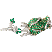 Emerald Diamond Flower Brooch | 18K Bicolor Gold | Vintage Rose Pin