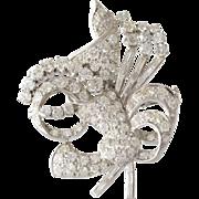 Art Deco Diamond Brooch | Platinum Round Baguette | Vintage Pin