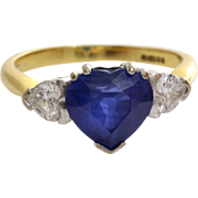 Sapphire Heart Engagement Ring | 18K Gold Diamond | Vintage Blue