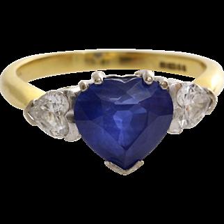 Sapphire Heart Engagement Ring | 18K Gold Diamond | Vintage Blue