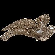 Ottoman Diamond Bird Brooch | 9K Yellow Gold | Antique Ruby Pin