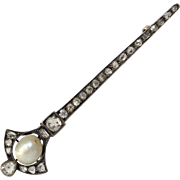 Victorian Diamond Brooch | Natural Pearl 14K Gold | Silver Bar Pin